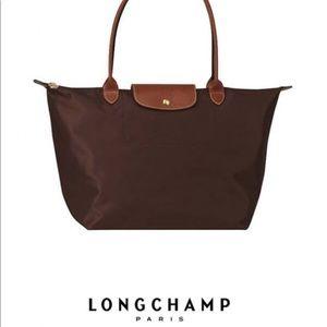 Large Brown Le Pliage Longchamp Tote bag